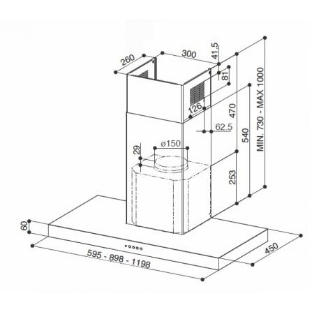Vasca sottotop in acciaio inox AISI304 spazzolato, 14,7 cm. Serie Alba UM15 Smeg