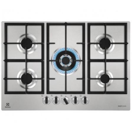 Electrolux KGU75361Z Piano Cottura 75 cm 5 Fuochi Gas Griglie Ghisa Acciaio Inox