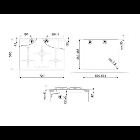 Piano Cottura 60 cm 4 Fuochi Terra di Francia YTF46ASV De Longhi