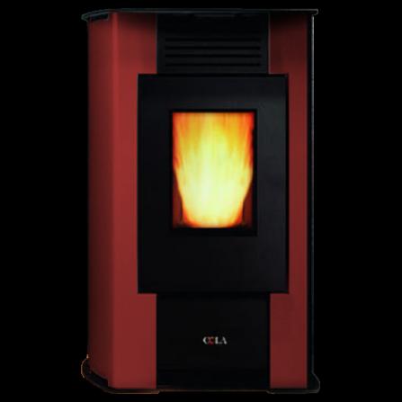 Stufa AURORA ventilata in acciaio verniciato colore Bordeaux LA22K30Y Cola  - Pronta Consegna