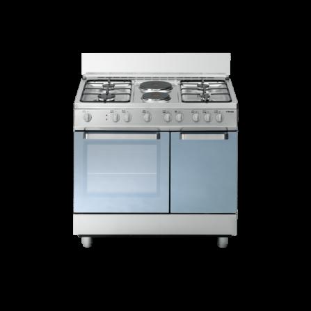 Tecno Gas Cucina Stile Arke' D923XS 90x60 Portabombola Forno Multifunzione 4 Fuochi + 2 Piastre Inox