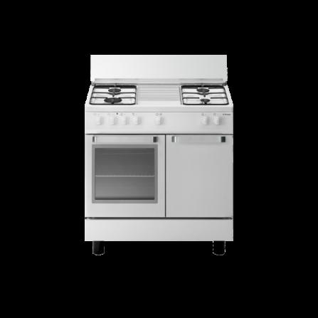 Tecno Gas Cucina Stile Arke' D833WS 80x50 Portabombola Forno Elettrico 4 Fuochi Bianco