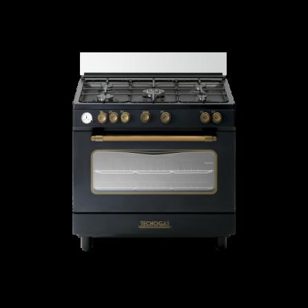 Tecno Gas Cucina Stile Deco D965GVN 90x60 Forno Gas Vent. 5 Fuochi Nero Matt Deco